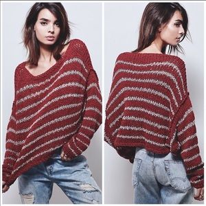 Free People Over Easy Striped Open Knit Sweater